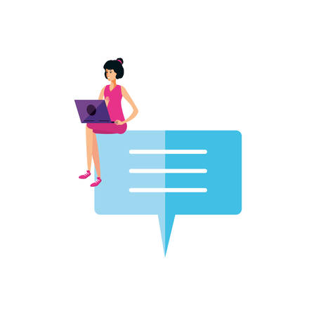 young woman using laptop in speech bubble vector illustration design