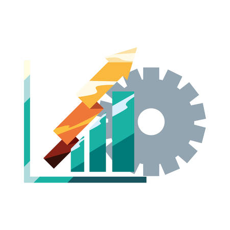 financial report diagram gear arrows profit vector illustration