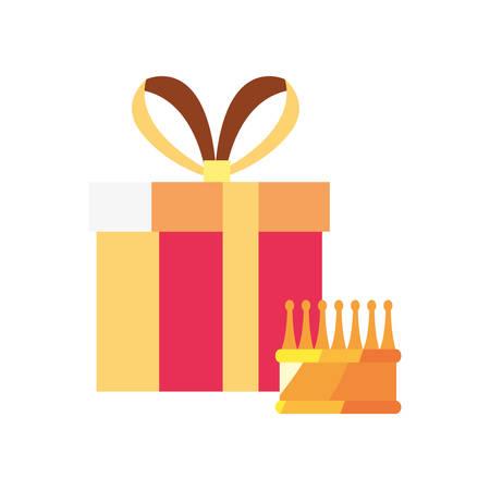 gift box crown surprise on white background vector illustration Illusztráció