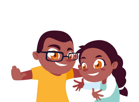 Girl and boy cartoon design, Kid childhood little people lifestyle and person theme Vector illustration