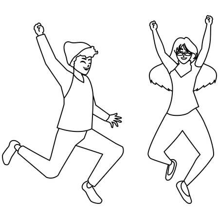 happy young couple celebrating characters vector illustration design Illusztráció