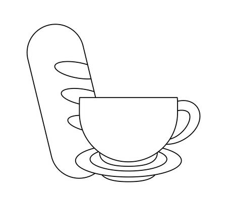delicious french bread with cup coffee vector illustration design