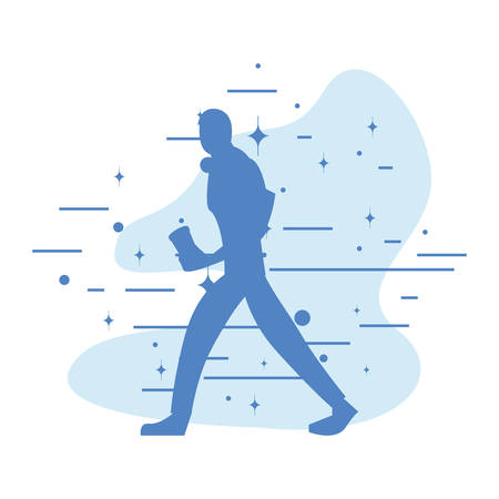 man silhouette walking with disposable cup in hand vector illustration
