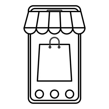 smartphone with parasol and shopping bag vector illustration design Illustration
