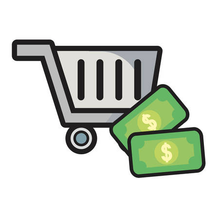 online shopping cart banknote money vector illustration