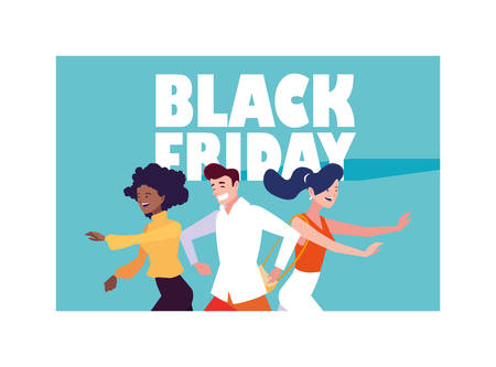 People shopping design, Black friday shop sale offer and discount theme Vector illustration