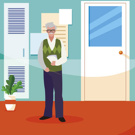 teacher male in the school corridor vector illustration design Stock fotó - 134324557