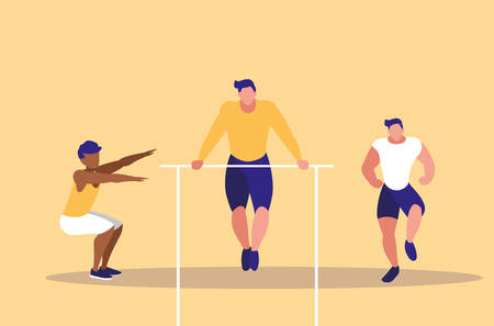 young men practicing gymnasia in bars vector illustration design