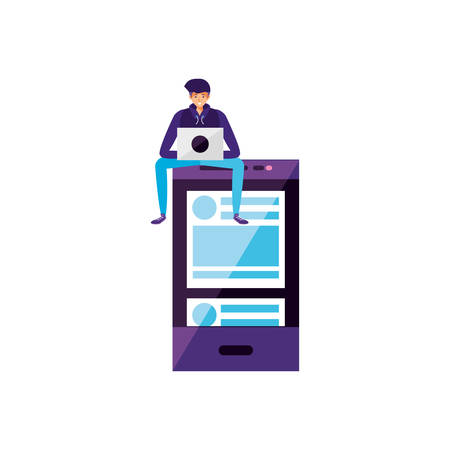young man using laptop with smartphone vector illustration design