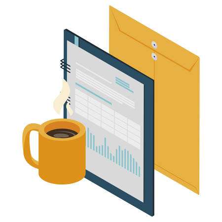 manila envelope with notepad vector illustration design