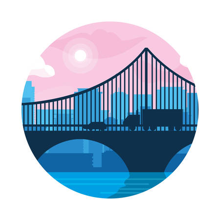buildings cityscape scene with bridge vector illustration design