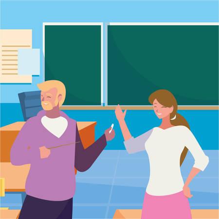 teachers couple in the classroom characters vector illustration design Stock fotó - 134309703