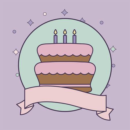 cake of birthday in frame circular with ribbon vector illustration design Çizim