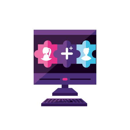desktop with contacts manager app vector illustration design Illustration