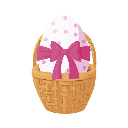 happy easter egg painted with bow ribbon in basket vector illustration design Stock fotó - 134316340