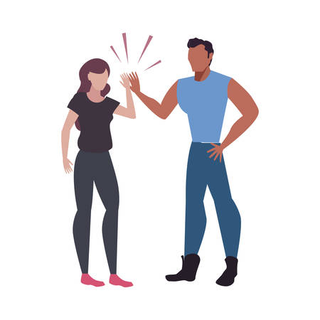 man and woman hand shake characters team work vector illustration