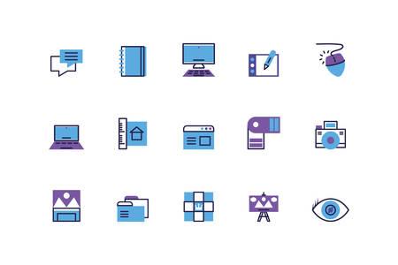 set of icons of creativity on white background vector illustration design