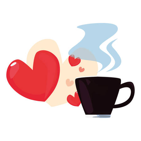 coffee cup hearts love happy fathers day vector illustration