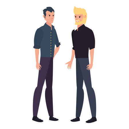 two men characters male standing on white background vector illustration