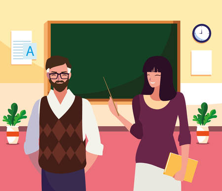 teachers couple in the classroom characters vector illustration design Stock fotó - 134316517