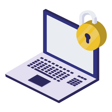 laptop computer with padlock security vector illustration design