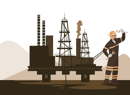 oil industry worker with tools avatar character vector illustration design