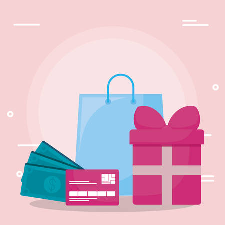 shopping bag with credit card and bills vector illustration design