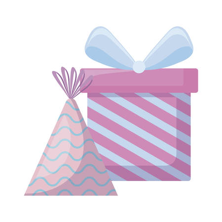 gift box present with hat party vector illustration design
