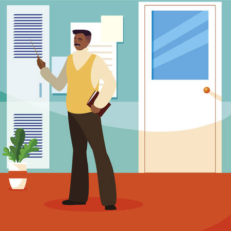 teacher male in the school corridor vector illustration design Stock fotó - 134328903