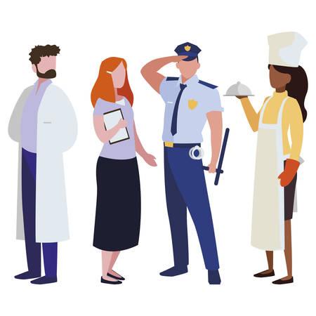 Grupo de trabajadores profesionales, diseño de ilustraciones vectoriales personajes Ilustración de vector