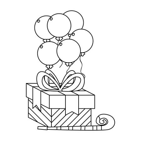 gift box present with balloons helium vector illustration design