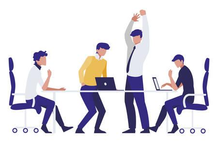 group of businessmen in the office scene vector illustration design Illusztráció