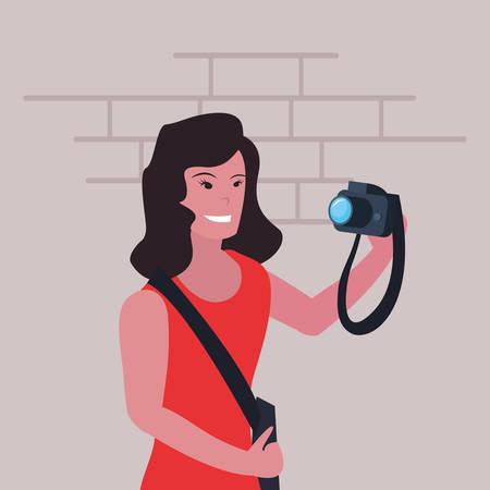 woman photographer profession labour day vector illustration Foto de archivo - 134356701