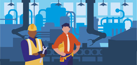 couple of men working in factory vector illustration design