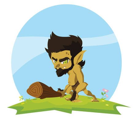 caveman gnome in the camp magic character vector illustration design