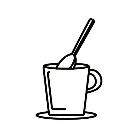 coffee cup with spoon isolated icon vector illustration design