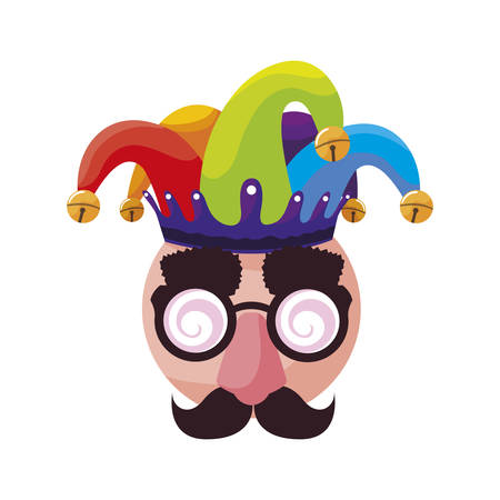 crazy emoticon with joker hat and face accessories vector illustration design Ilustrace