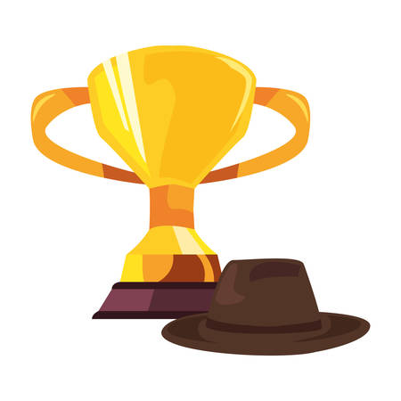 trophy and hat happy fathers day vector illustration