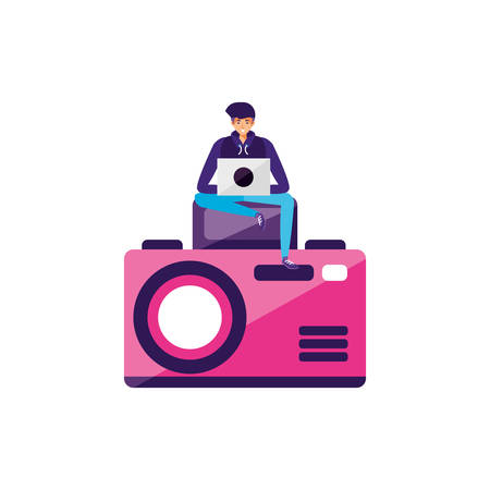 man using laptop with camera photographic vector illustration design Illusztráció
