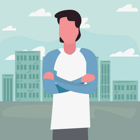 man standing in the city street activity outdoors vector illustration