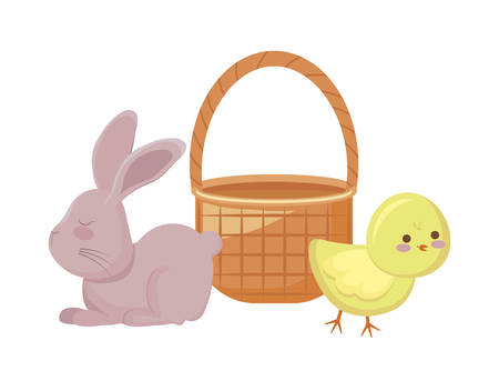 cute chicken with rabbit and basket wicker vector illustration design Ilustracja