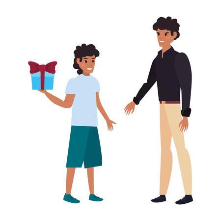 men wearing hat happy fathers day vector illustration Illusztráció
