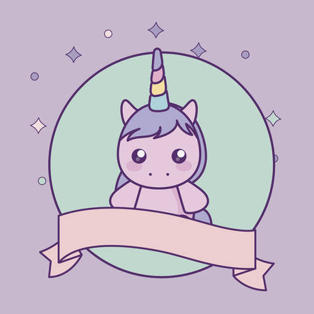 cute little unicorn baby with ribbon vector illustration design