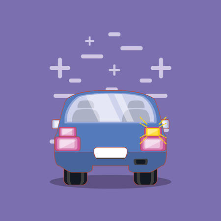 drive safely car with turn signal vector illustration