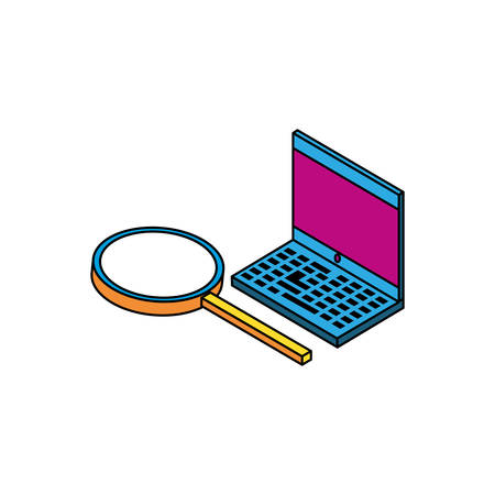 laptop computer with magnifying glass vector illustration design