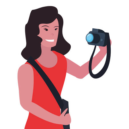 woman photographer profession labour day vector illustration Foto de archivo - 134391485