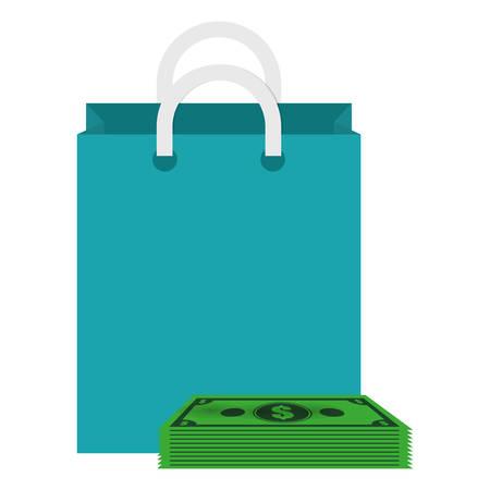 shopping bag with bills dollars vector illustration design Çizim