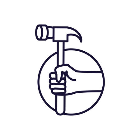 hand with hammer tool in frame circular vector illustration design