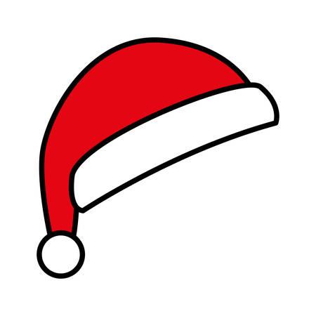 süßer roter Weihnachtsmann-Hut auf weißem Hintergrundvektorillustrationsdesign