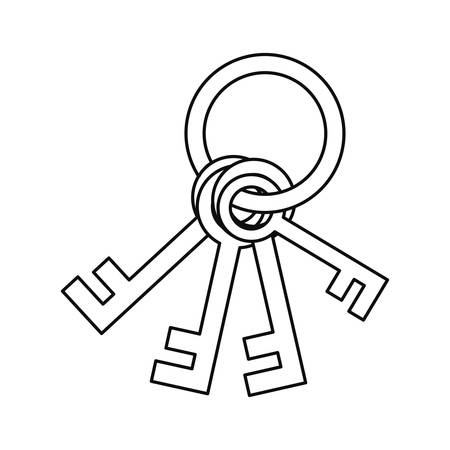 keys cybersecurity data protection vector illustration design outline